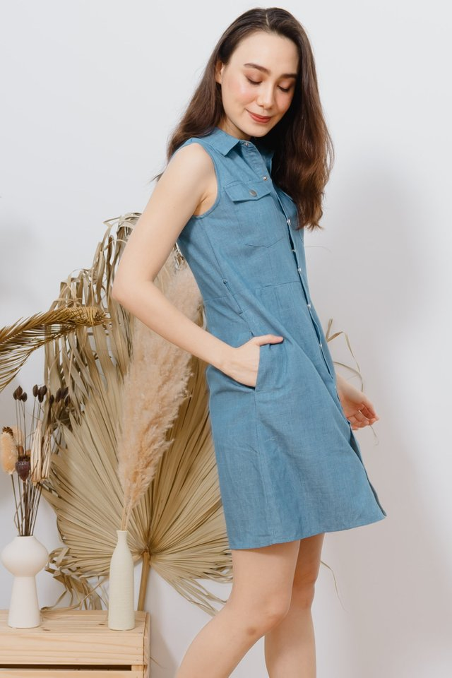 ACW Two Way Denim Button Down Sash Dress