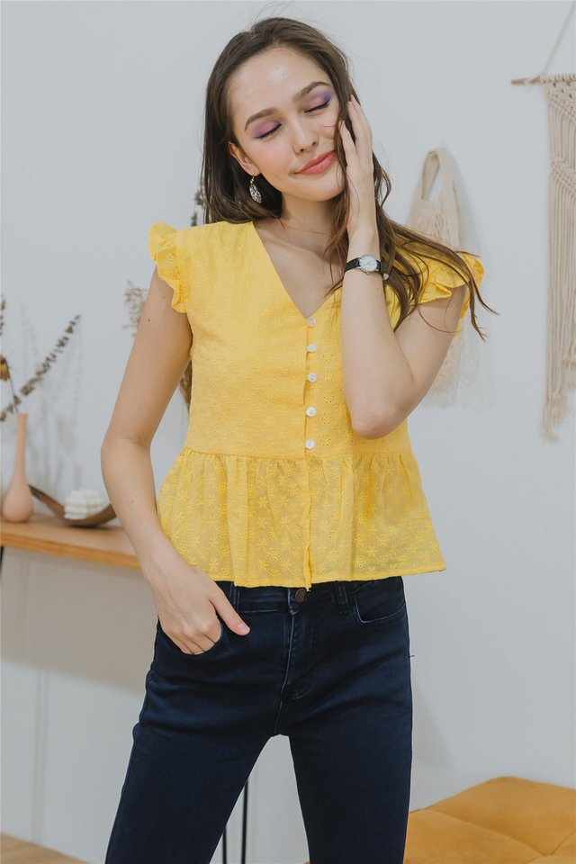 Eyelet Button Frill Sleeve Top in Daffodil
