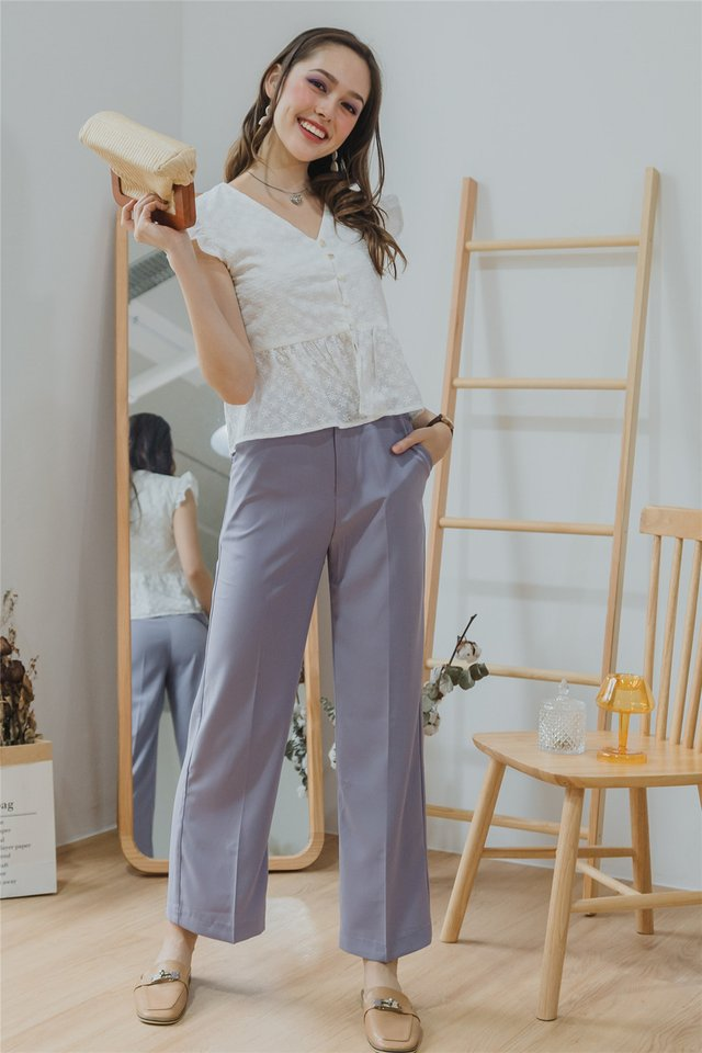 *Backorder* Straight Fit High Waist Trousers in Lavender