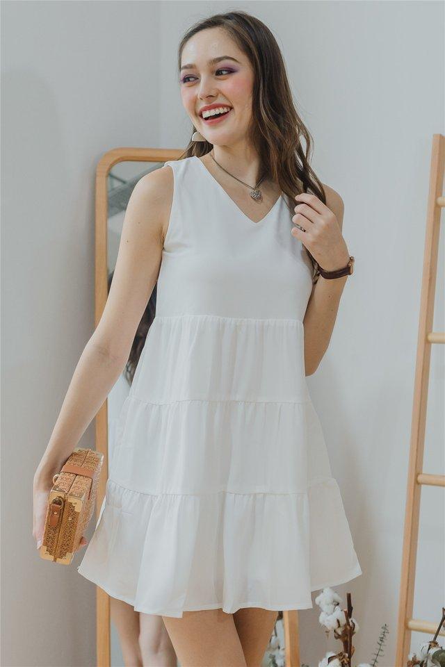 ACW Cupcake Tiered Sleeveless Babydoll Dress in White