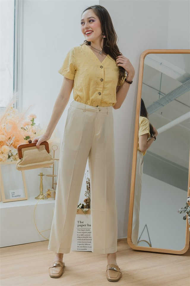 Straight Fit High Waist Trousers in Ivory