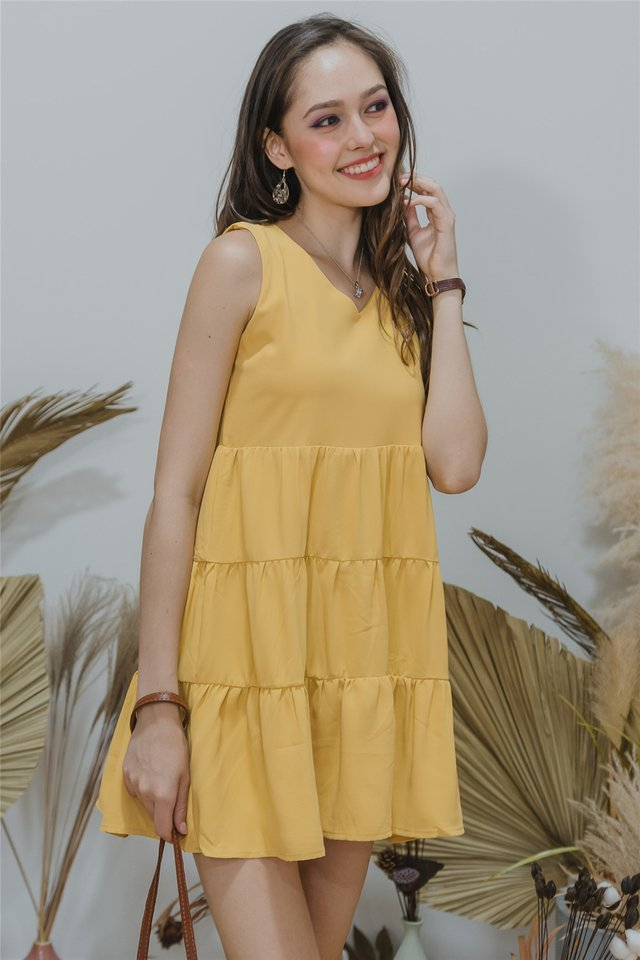 ACW Cupcake Tiered Sleeveless Babydoll Dress in Daffodil