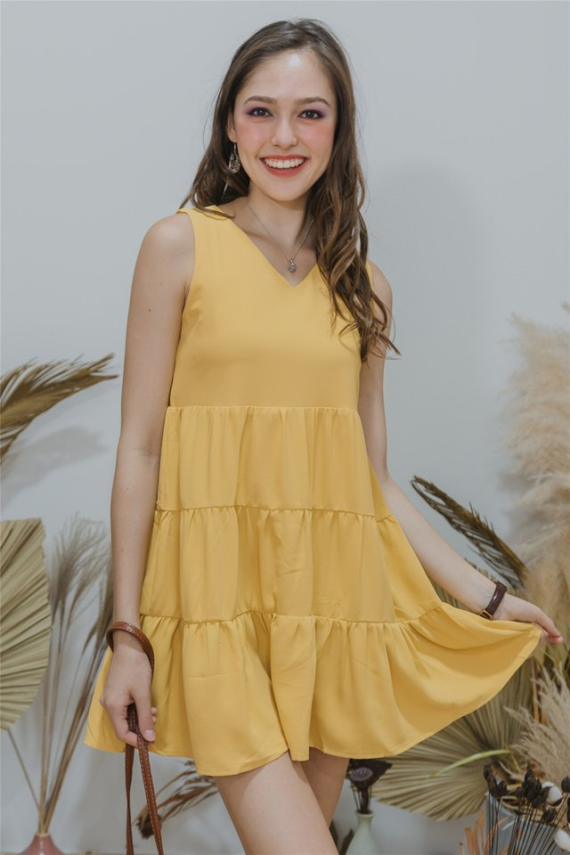 ACW Cupcake Tiered Sleeveless Babydoll Dress in Daffodil
