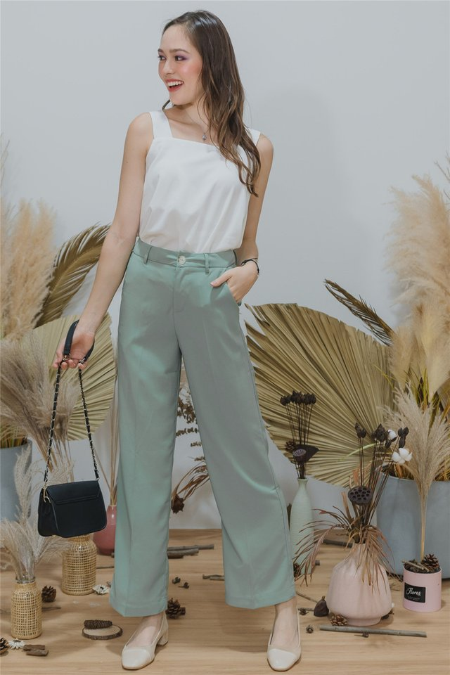 Straight Fit High Waist Trousers in Seafoam