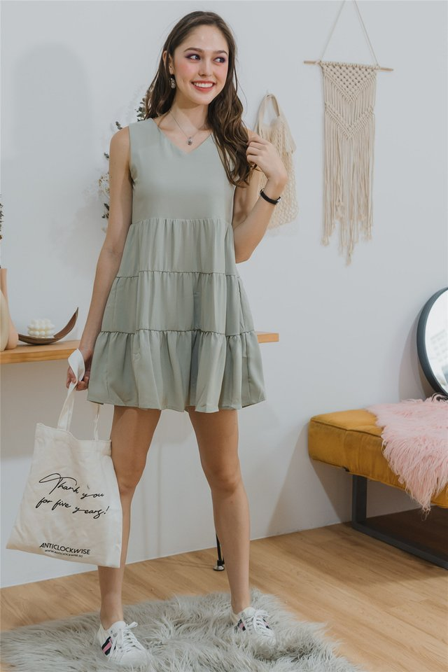 ACW Cupcake Tiered Sleeveless Babydoll Dress in Seafoam