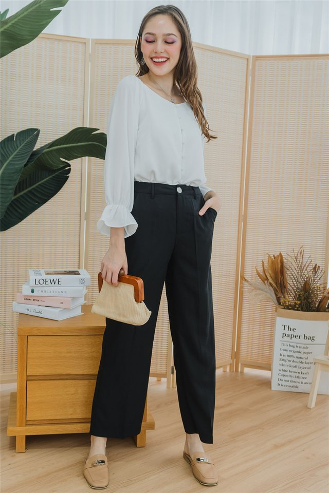 *Backorder* Straight Fit High Waist Trousers in Black