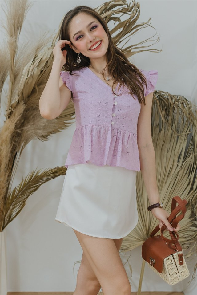 Eyelet Button Frill Sleeve Top in Lavender