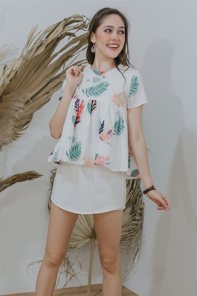 ACW Sleeved Babydoll Top in Tropic Fauna