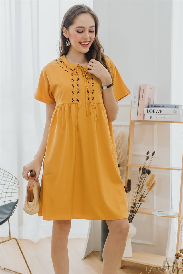 ACW Petit Sunflower Tie Front Babydoll Dress in Daffodil