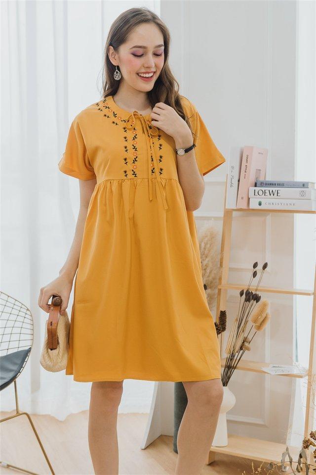 ACW Petit Sunflower Tie Front Babydoll Dress in Daffodil