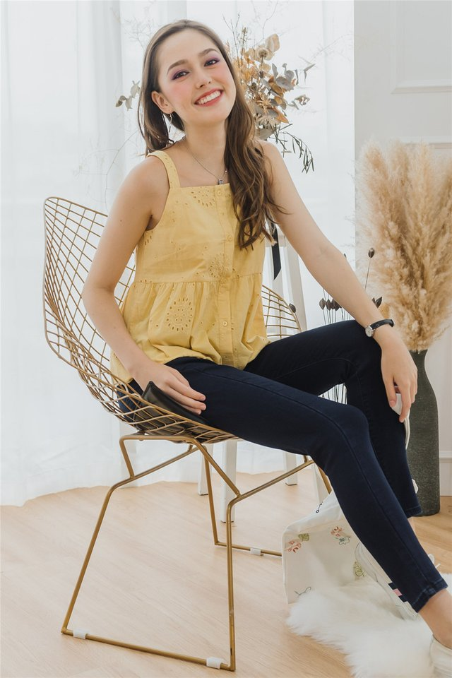 *BACK IN STOCK* Eyelet Cut In Button Down Top in Daffodil