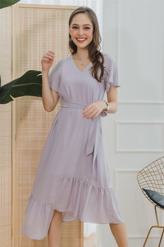 ACW Asymmetric Hem Sash Midi Dress in Lilac