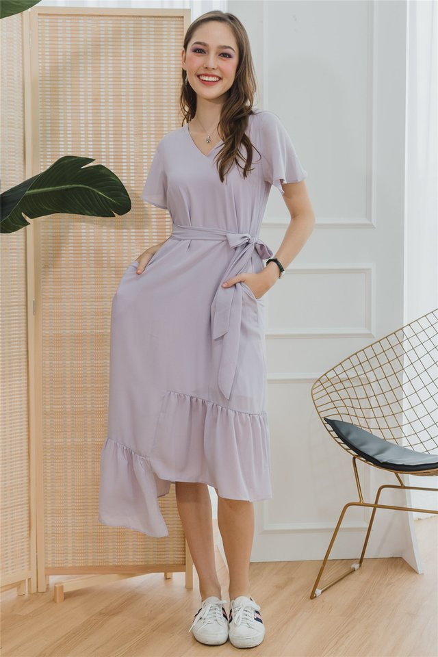 *BACK IN STOCK* ACW Asymmetric Hem Sash Midi Dress in Lilac