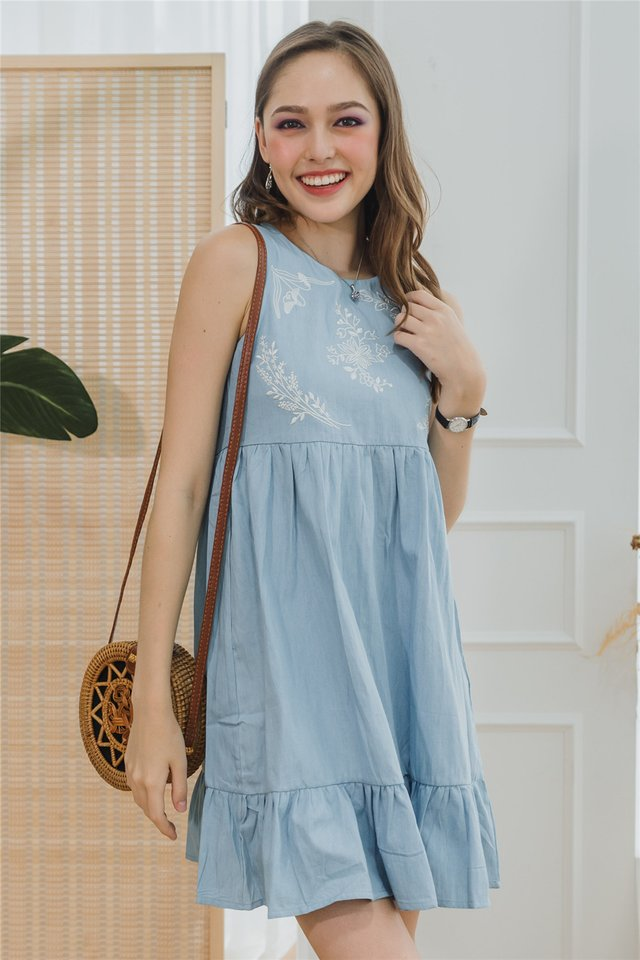 ACW Drop Hem Embroidery Babydoll Dress in Denim