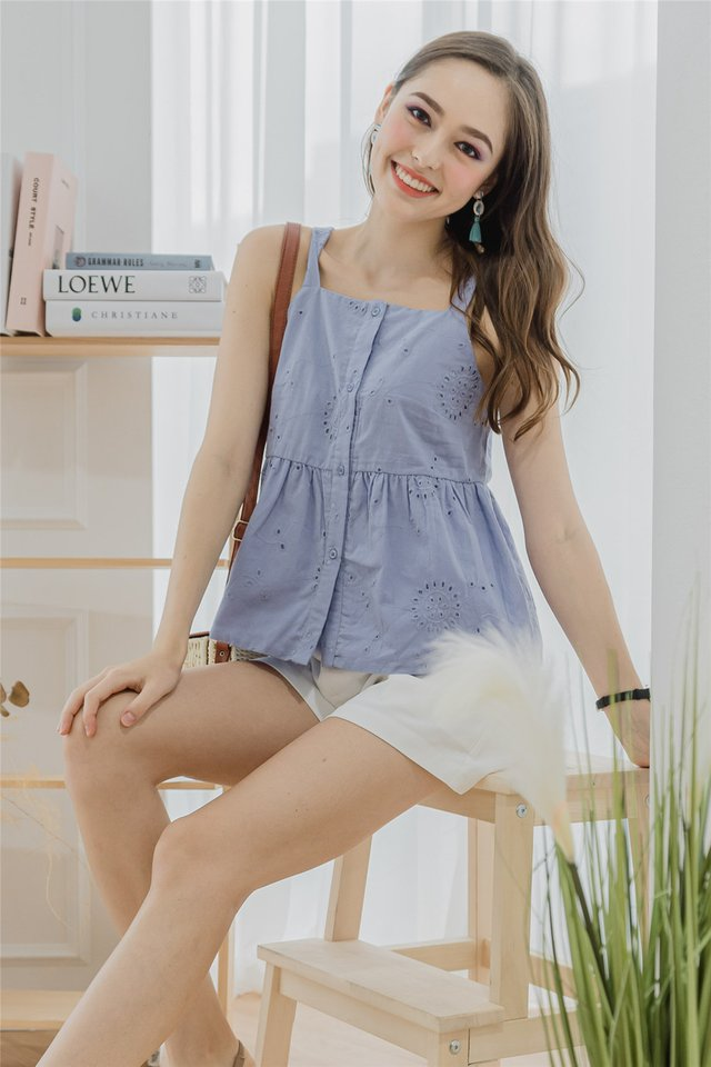 *Backorder* Eyelet Cut In Button Down Top in Lavender