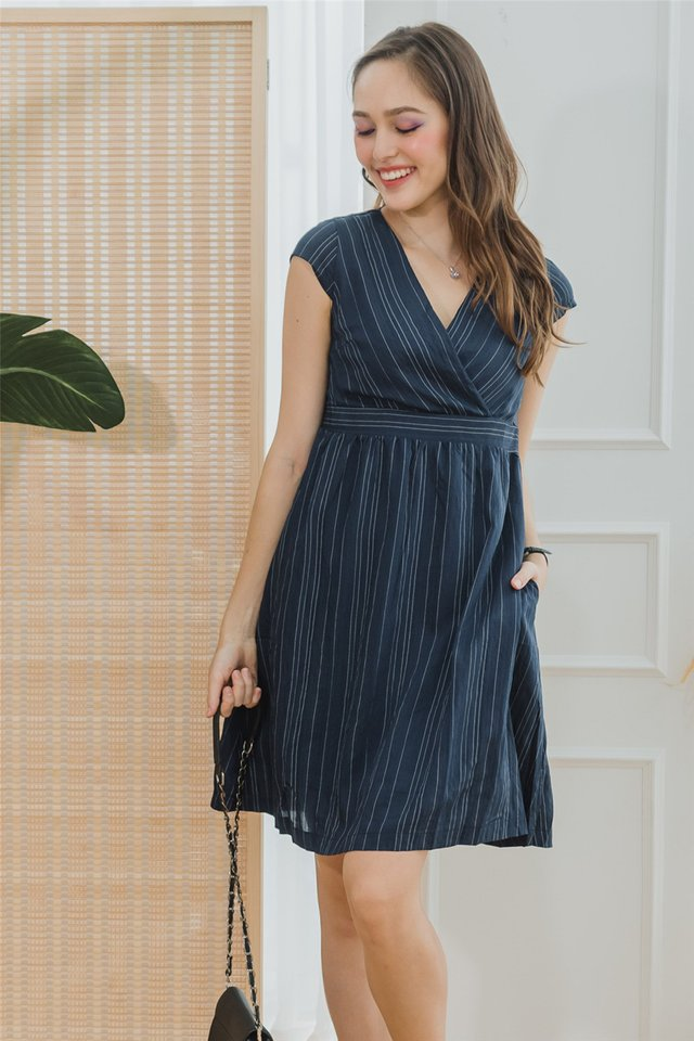 ACW Pinstripe Wrap Work Dress in Navy