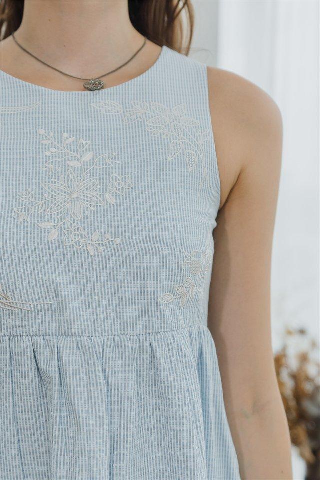 ACW Drop Hem Embroidery Babydoll Dress in Pinstripes