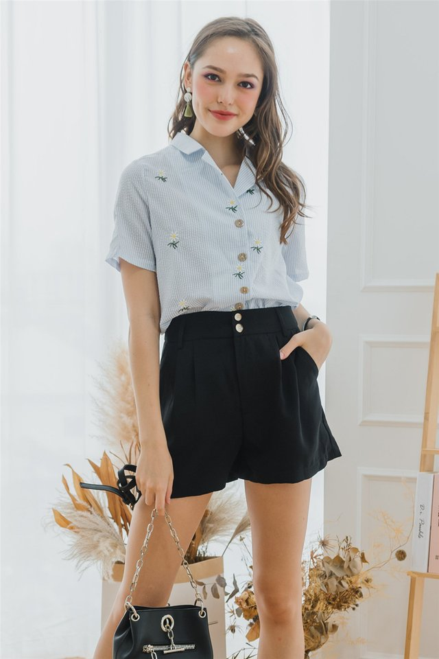 Duo Button Pocket High Waist Shorts in Black