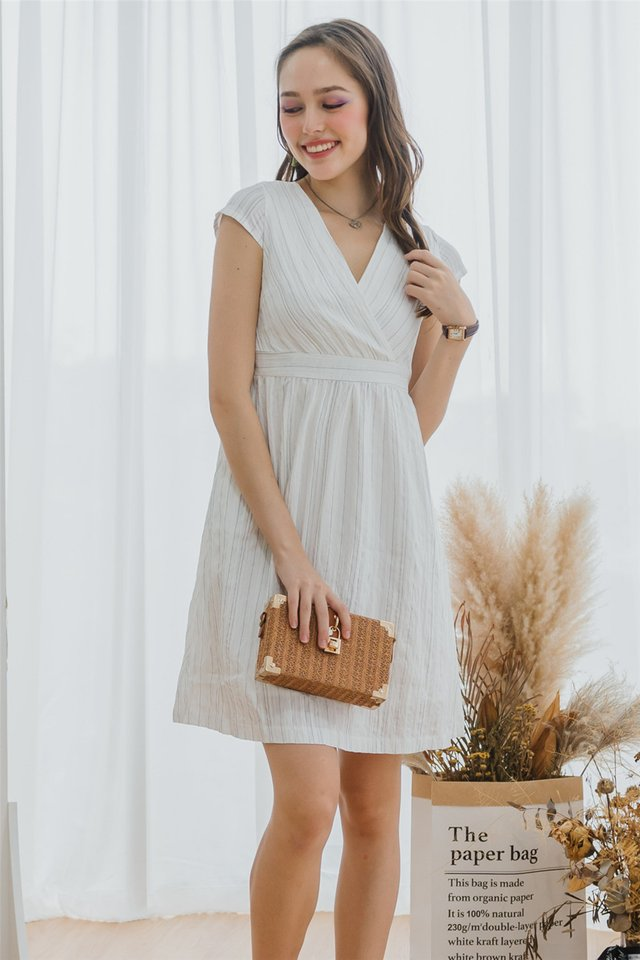 ACW Pinstripe Wrap Work Dress in White