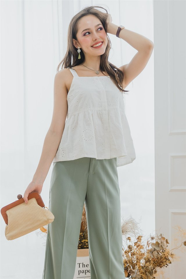 Eyelet Cut In Button Down Top in White
