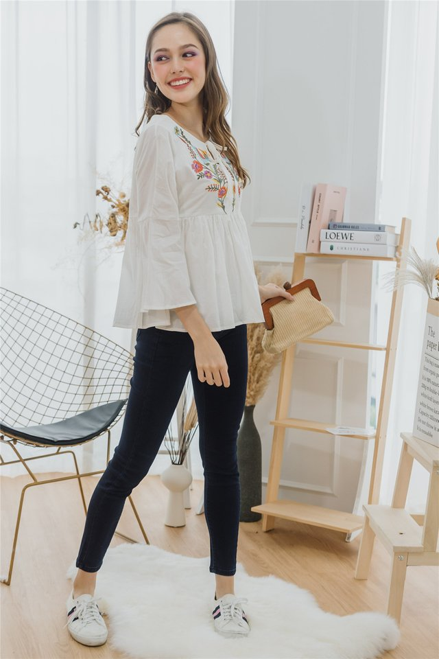 ACW Embroidery Bell Sleeve Top in White