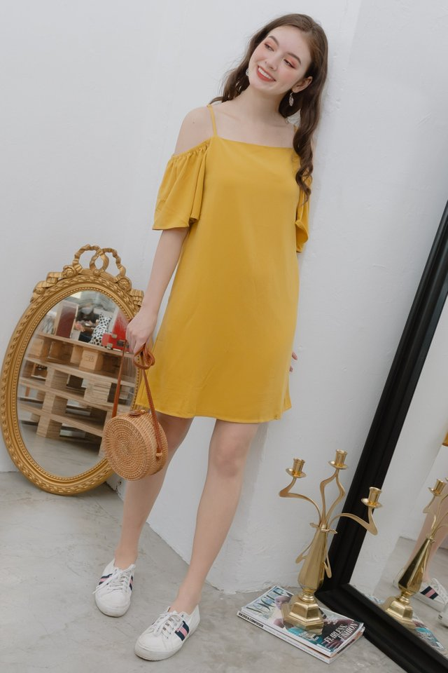 ACW Cold Shoulder Sash Dress in Daffodil