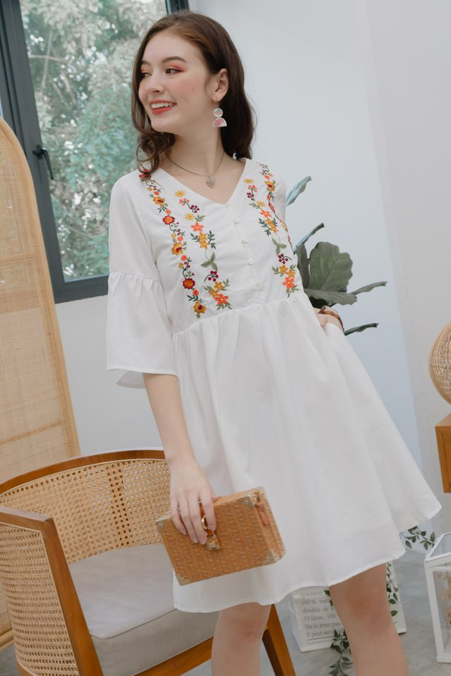 ACW Summer Flora Bell Sleeve Babydoll Dress in White