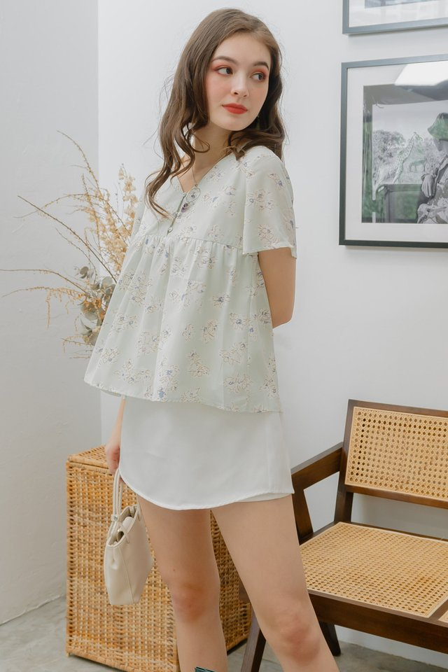ACW Drawn Florals Button Down Babydoll Top in Mint