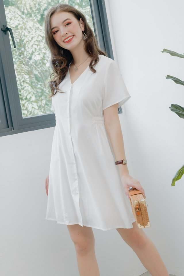 ACW Button Down A-Line Swing Dress in White
