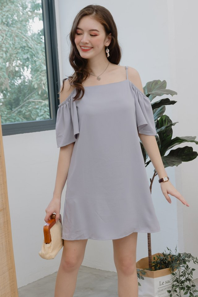 ACW Cold Shoulder Sash Dress in Dusty Grey