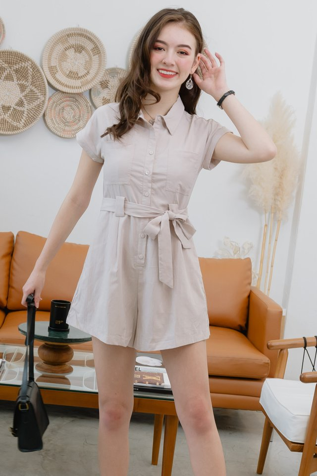 ACW Collar Button Down Sash Romper in Sand
