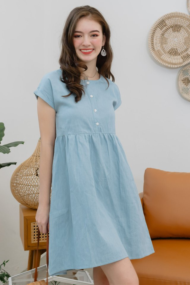 *BACK IN STOCK* ACW Button Down Sleeved Babydoll Dress in Denim