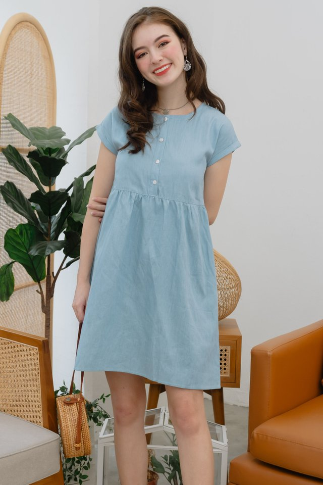 ACW Button Down Sleeved Babydoll Dress in Denim