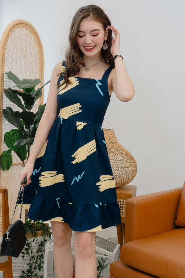 ACW Sketch Scribbles Drop Hem Work Dress in Navy