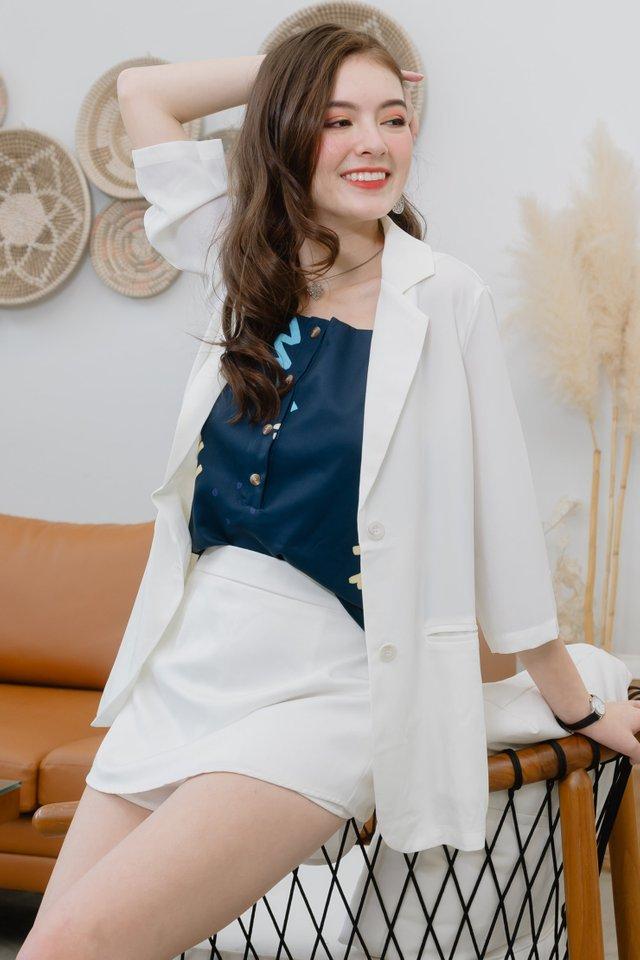 Oversized Chiffon Blazer in White
