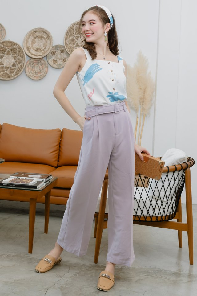 Square Buckle Belted Trousers in Lilac