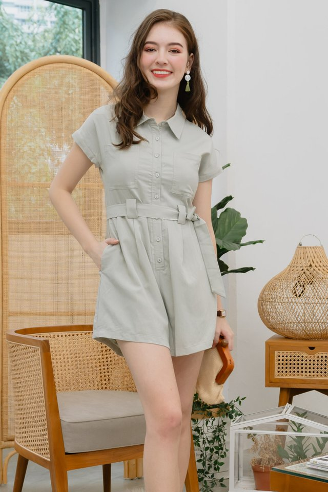 ACW Collar Button Down Sash Romper in Sage Green