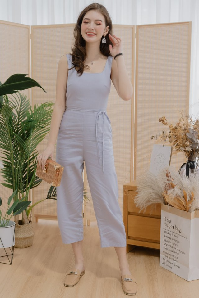 ACW Linen Square Neck Sash Jumpsuit in Lilac