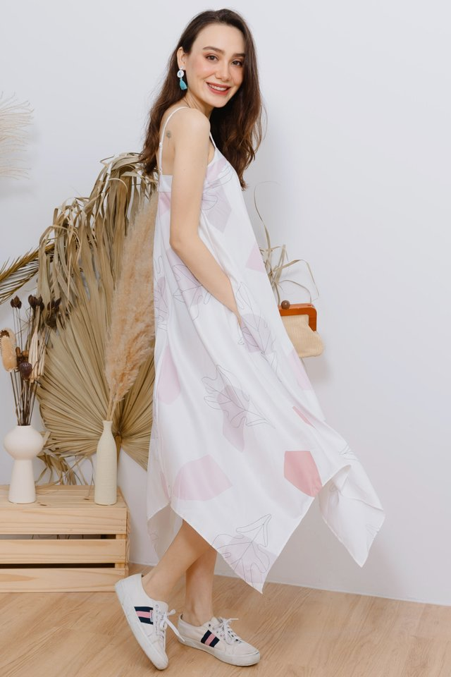 Pastel Abstract Shapes Tent Midi Dress in Dusty Pink