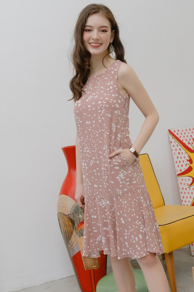 Speckle Print Drop Hem Midi Dress in Blush