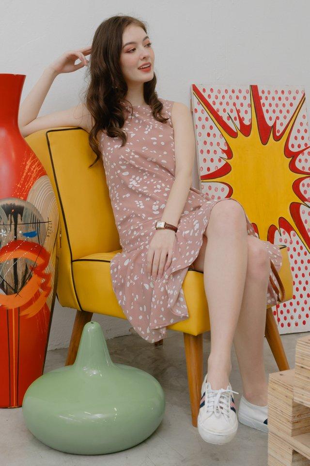 Speckle Print Drop Hem Midi Dress in Blush