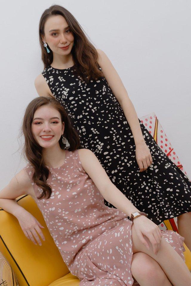 Speckle Print Drop Hem Midi Dress in Black