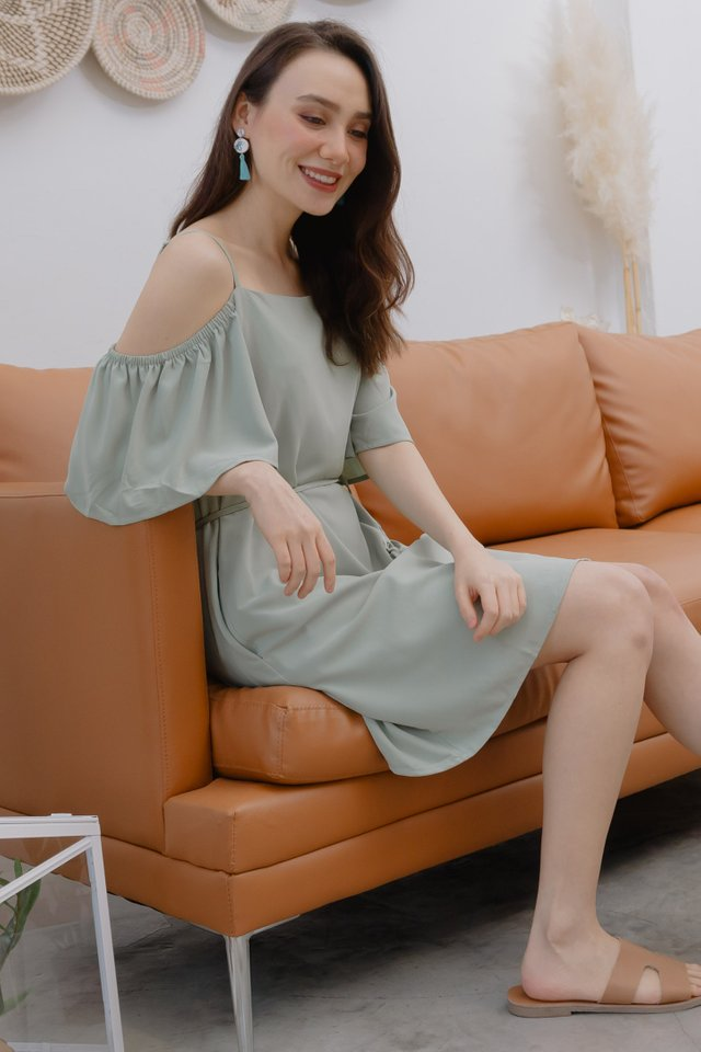 ACW Cold Shoulder Sash Dress in Seafoam