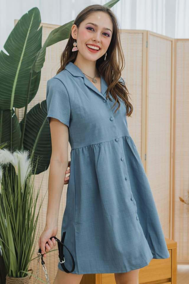 ACW Structured Linen Collar Babydoll Dress in Denim Blue