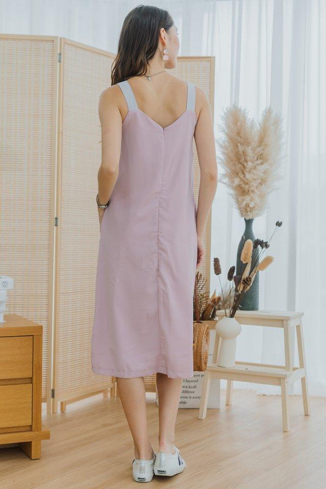 ACW Tri Colourblock Midi Dress in Blush