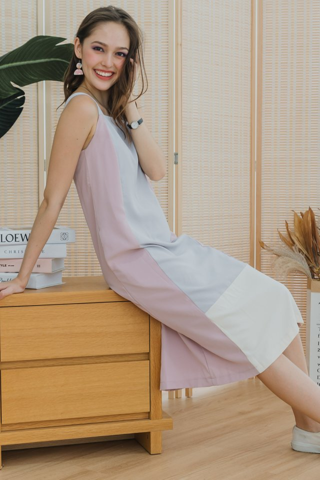 ACW Tri Colourblock Midi Dress in Blush