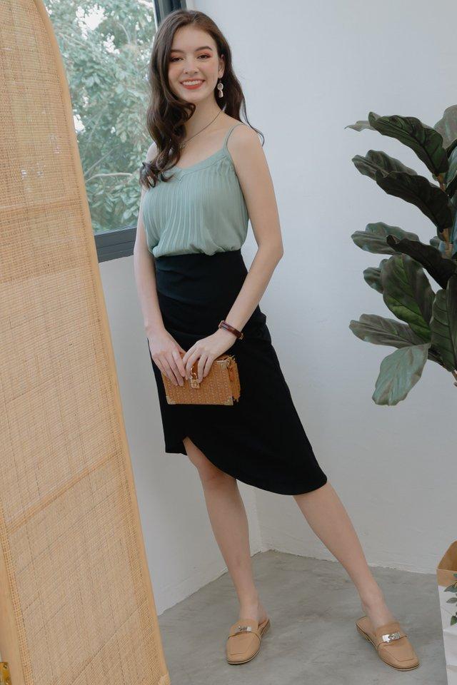 *Backorder* Ruched Asymmetrical Midi Skirt in Black