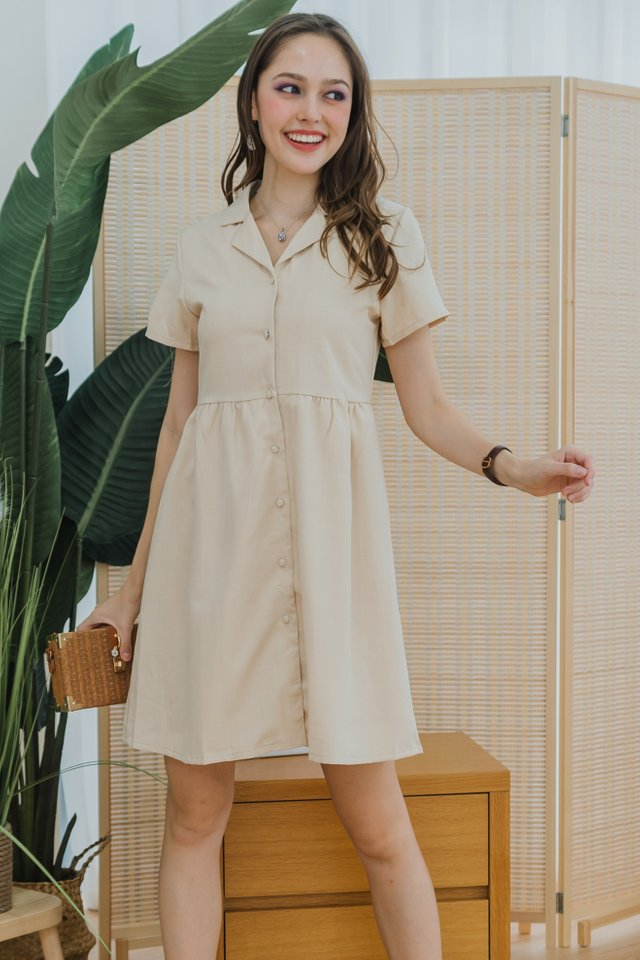 ACW Structured Linen Collar Babydoll Dress in Sand