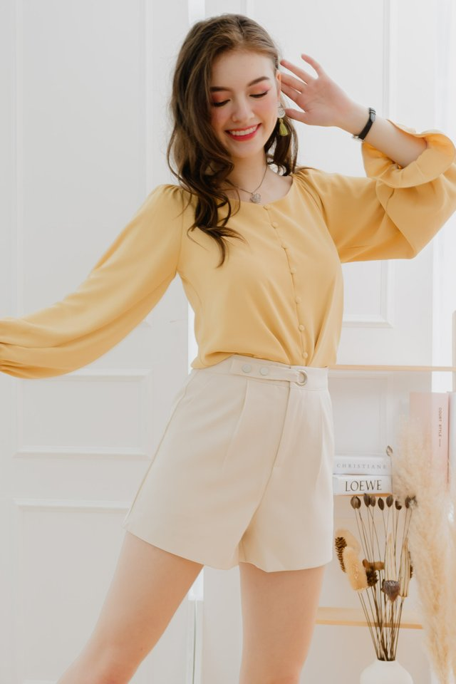 ACW Balloon Sleeve Button Down Top in Daffodil