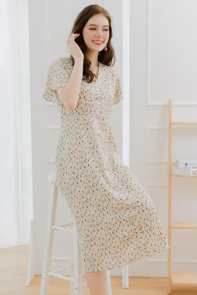 ACW Printed Flutter Sleeve Midi Dress in Ivory